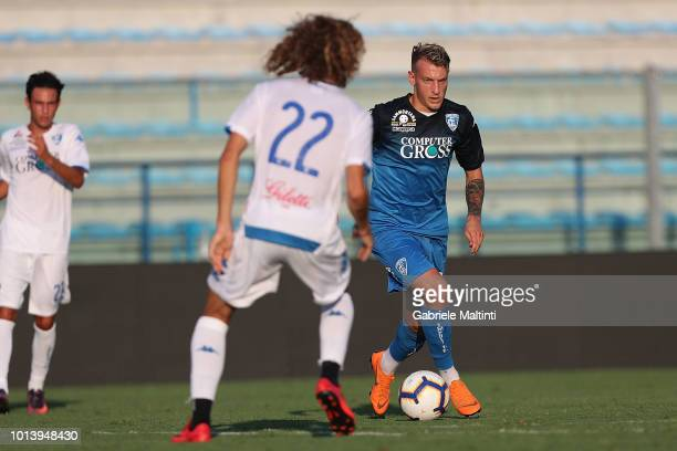 Antonino La Gumina of Empoli FC in action during the preseason frienldy match between Empoli FC and Empoli FC U19 on August 9 2018 in Empoli Italy