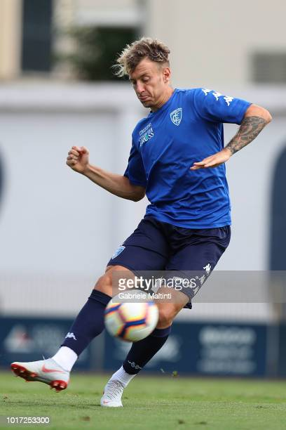 Antonino La Gumina of Empoli FC in action gestures during the training session on August 15 2018 in Empoli Italy