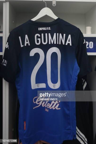 Antonino La Gumina of Empoli FC jersey in the locker room during the Serie A match between Empoli and UC Sampdoria at Stadio Carlo Castellani on...