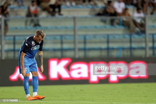 Antonino La Gumina of Empoli FC reacts during the Coppa Italia match between Empoli FC and Cittadella at Stadio Carlo Castellani on August 12 2018 in...