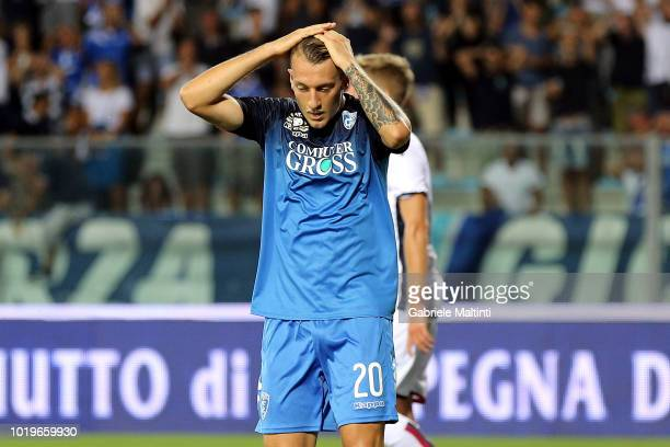 Antonino La Gumina of Empoli FC reacts during the serie A match between Empoli and Cagliari at Stadio Carlo Castellani on August 19 2018 in Empoli...
