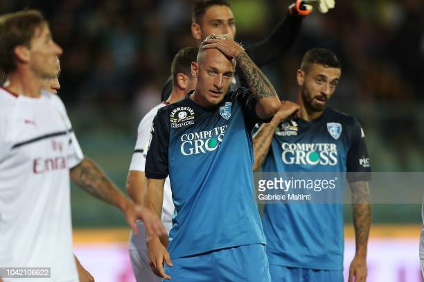 Antonino La Gumina of Empoli FC reacts during the serie A match between Empoli and AC Milan at Stadio Carlo Castellani on September 27 2018 in Empoli...