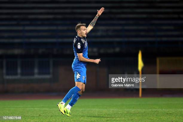 Antonino La Gumina of Empoli FC reacts during the Serie A match between Empoli and UC Sampdoria at Stadio Carlo Castellani on December 22 2018 in...