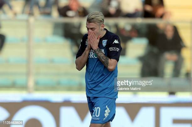 Antonino La Gumina of Empoli FC reacts during the Serie A match between Empoli and US Sassuolo at Stadio Carlo Castellani on February 17 2019 in...