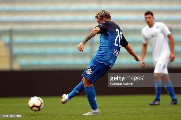 Antonino La Gumina of Empoli FC scores a goal during friendly match between Empoli FC and Empoli FC U19 on October 11 2018 in Empoli Italy
