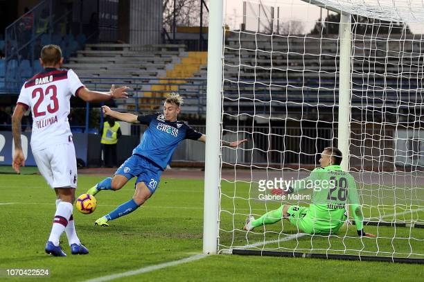 Antonino La Gumina of Empoli FC scores a goal during the Serie A match between Empoli and Bologna FC at Stadio Carlo Castellani on December 9 2018 in...