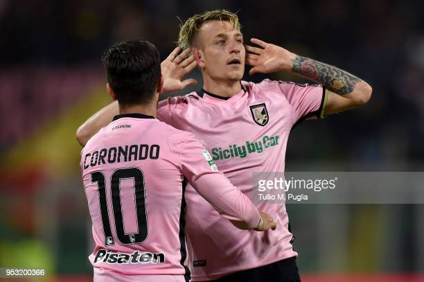 Antonino La Gumina of Palermo celebrates after scoring the opening goal during the serie A match between US Citta di Palermo and AS Bari at Stadio...
