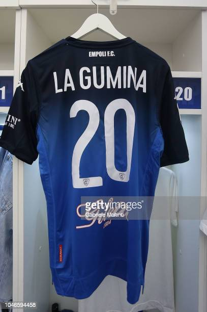 Antonino La Gumina's shirt in the Empoli FC's dressin romm during the Serie A match between Empoli and AS Roma at Stadio Carlo Castellani on October...
