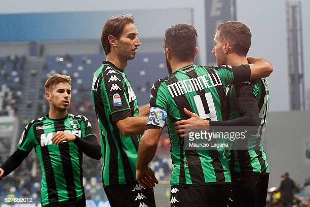 Antonino Ragusa of Sassuolo celerates the third goal during the Serie A match between US Sassuolo and Empoli FC at Mapei Stadium Citta' del Tricolore...