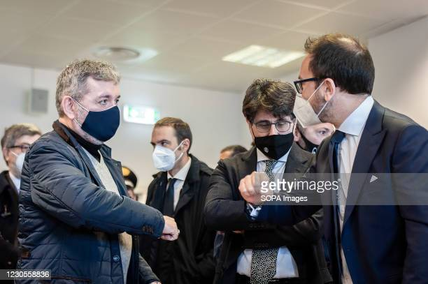 Antonino Spirlì , Regional Governor of Calabria, seen exchanging greetings. Italian Minister of Justice Alfonso Bonafede and anti-mafia prosecutor...