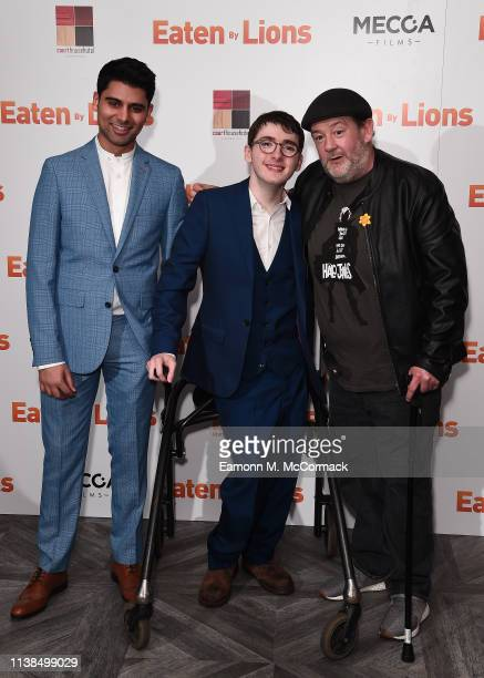 """Antonio Aakeel, Jack Carroll and Johnny Vegas attend the """"Eaten By Lions"""" UK premiere at The Courthouse Hotel on March 26, 2019 in London, England."""