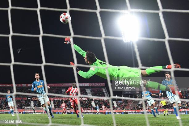 Antonio Adan of Atletico de Madrid fails to save a goal from Anthony Lozano of Girona FC during the Copa del Rey Round of 16 match between Girona FC...