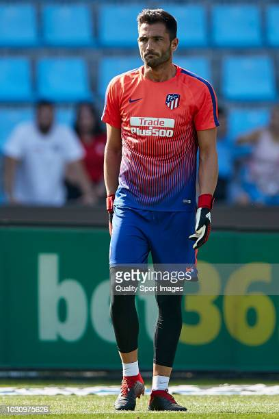 Antonio Adan of Atletico de Madrid looks on prior to the La Liga match between RC Celta de Vigo and Club Atletico de Madrid at Abanca Balaidos...