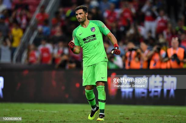 Antonio Adan of Atletico Madrid celebrates during the International Champions Cup 2018 match between Club Atletico de Madrid and Arsenal at the...