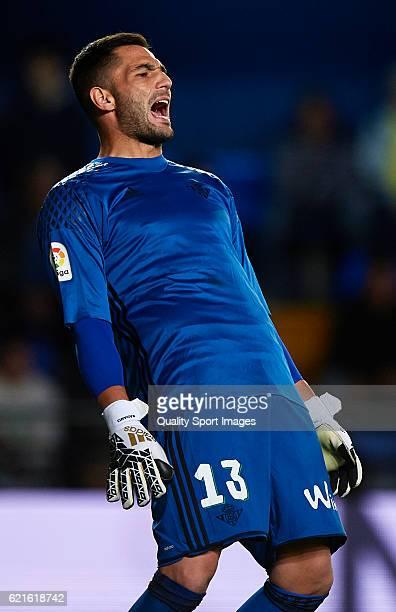 Antonio Adan of Betis reacts during the La Liga match between Villarreal CF and Real Betis at El Madrigal on November 06 2016 in Villarreal Spain