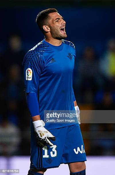 Antonio Adan of Betis reacts during the La Liga match between Villarreal CF and Real Betis at El Madrigal on November 06 2016 in Villarreal Spain