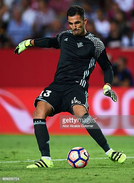 Antonio Adan of Real Betis Balompie in action during the match between Sevilla FC vs Real Betis Balompie as part of La Liga at Estadio Ramon Sanchez...