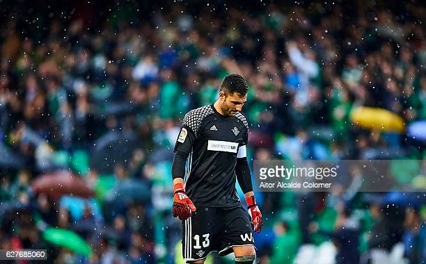 Antonio Adan of Real Betis Balompie looks on during La Liga match between Real Betis Balompie an RC Celta de Vigo at Benito Villamarin Stadium on...