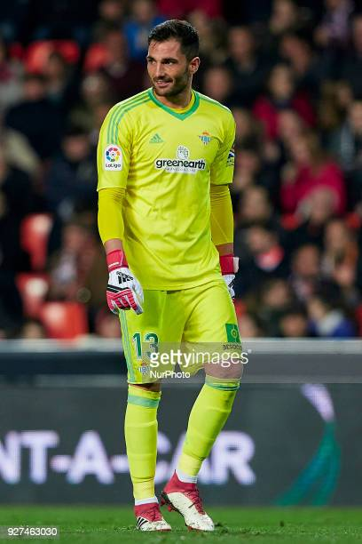Antonio Adan of Real Betis Balompie looks on during the La Liga match between Valencia CF and Real Betis Balompie at Mestalla on March 4 2018 in...