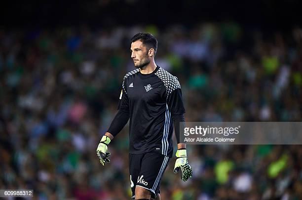 Antonio Adan of Real Betis Balompie looks on during the match between Real Betis Balompie vs Malaga CF as part of La Liga at Benito Villamarin...