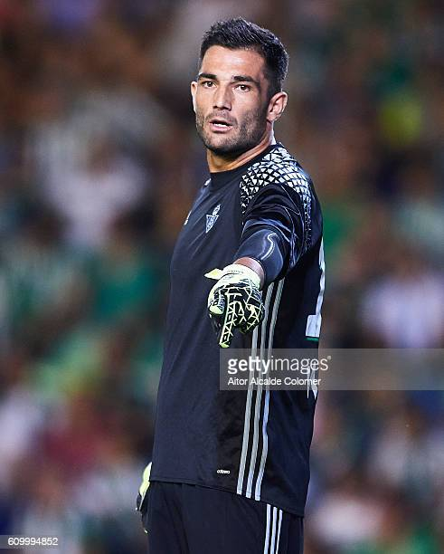 Antonio Adan of Real Betis Balompie looks on during the match between Real Betis Balompie vs Malaga CF as part of La Liga at Benito Villamarin...
