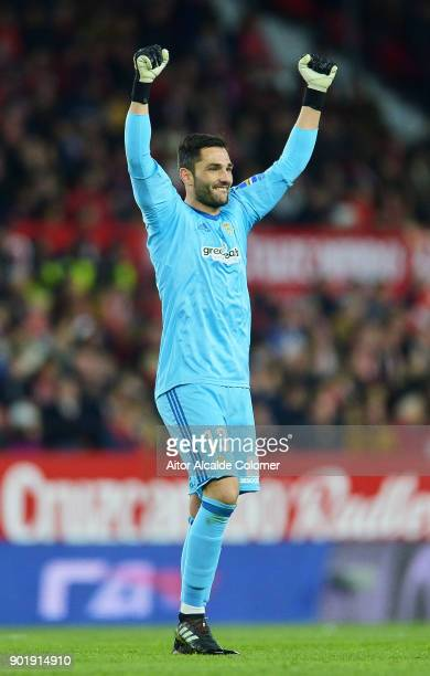 Antonio Adan of Real Betis reacts during the La Liga match between Sevilla FC and Real Betis Balompie at Estadio Ramon Sanchez Pizjuan on January 6...