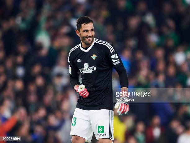 Antonio Adan of Real Betis reacts during the La Liga match between Real Betis and Real Madrid at Benito Villamrin stadium on February 18 2018 in...
