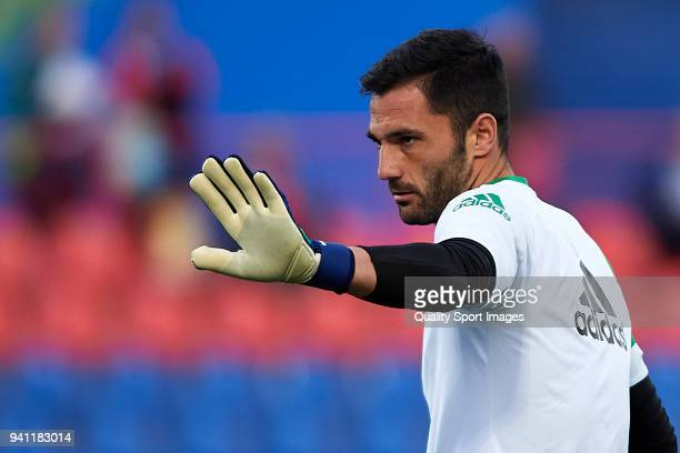 Antonio Adan of Real Betis warms up prior to the La Liga match between Getafe and Real Betis at Coliseum Alfonso Perez on April 2 2018 in Getafe Spain