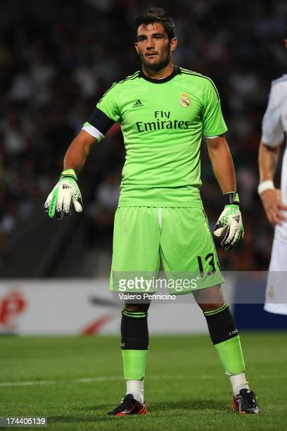 Antonio Adan of Real Madrid in action during the Pre Season match between Olympique Lyonnais and Real Madrid at Gerland Stadium on July 24 2013 in...