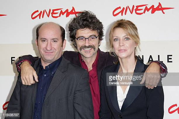 Antonio Albanese, Silvio Soldini and Margherita Buy attend the 'Giorni E Nuvole' photocall during Day 5 of the 2nd Rome Film Festival on October 22,...