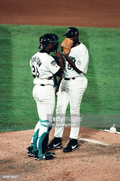 Antonio Alfonseca and Charles Johnson of the Florida Marlins during Game Two of the World Series against the Cleveland Indians at Pro Player Stadium...