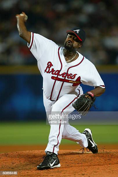 Antonio Alfonseca of the Atlanta Braves pitches during the game against the San Diego Padres on May 5 2004 at Turner Field in Atlanta Georgia The...