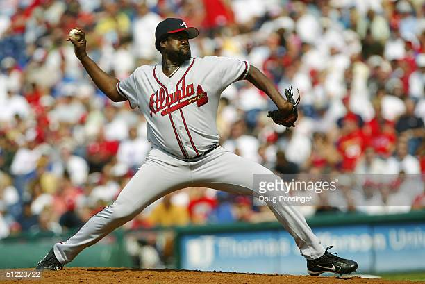 Antonio Alfonseca of the Atlanta Braves pitches during the game against the Philadelphia Phillies at the Citizens Bank Park on May 30 2004 in...