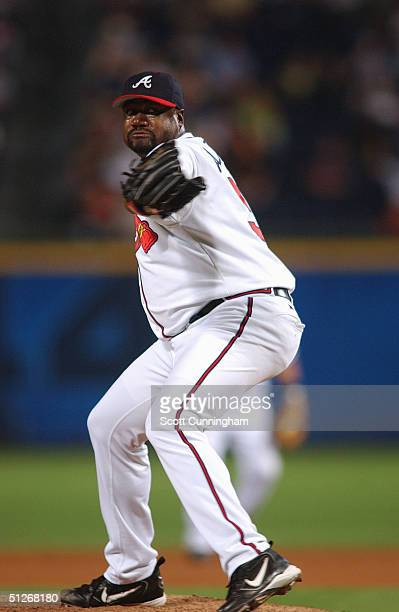 Antonio Alfonseca of the Atlanta Braves throws during the game against the San Francisco at Turner Field on July 30 2004 in Atlanta Georgia The...