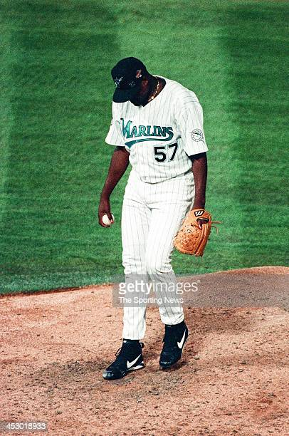 Antonio Alfonseca of the Florida Marlins during Game Two of the World Series against the Cleveland Indians at Pro Player Stadium on October 19 1997...
