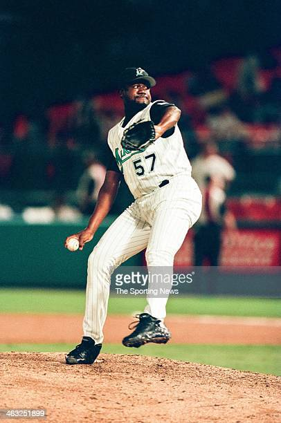 Antonio Alfonseca of the Florida Marlins during the game against the Arizona Diamondbacks on July 28 2000 at Pro Player Stadium in Miami Gardens...