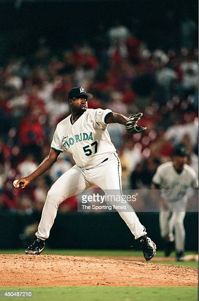 Antonio Alfonseca of the Florida Marlins pitches against the St Louis Cardinals at Busch Stadium on August 26 1998 in St Louis Missouri