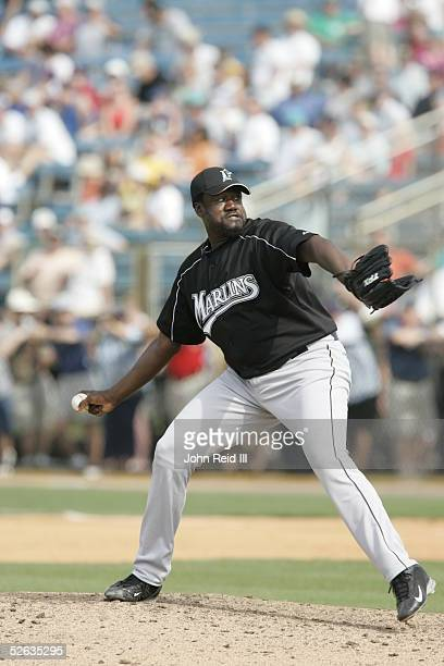 Antonio Alfonseca of the Florida Marlins pitches during the Spring Training game against the Baltimore Orioles at Ft Lauderdale Stadium on March 28...
