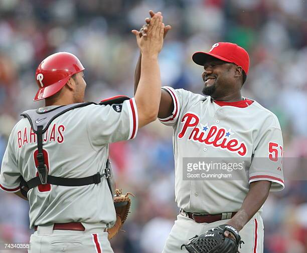 Antonio Alfonseca of the Philadelphia Phillies celebrates with Rod Barajas after the game against the Atlanta Braves at Turner Field on May 26 2007...