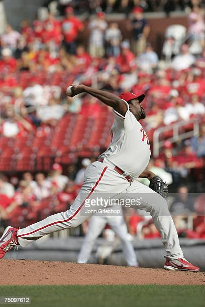 Antonio Alfonseca of the Philadelphia Phillies pitches during the game against the St Louis Cardinals at Busch Stadium in St Louis Missouri on June...