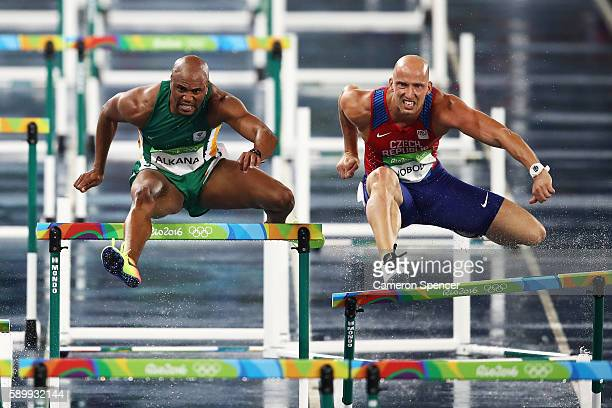Antonio Alkana of South Africa and Petr Svoboda of the Czech Republic compete during the Men's 110m Hurdles Round 1 Heat 3 on Day 10 of the Rio 2016...
