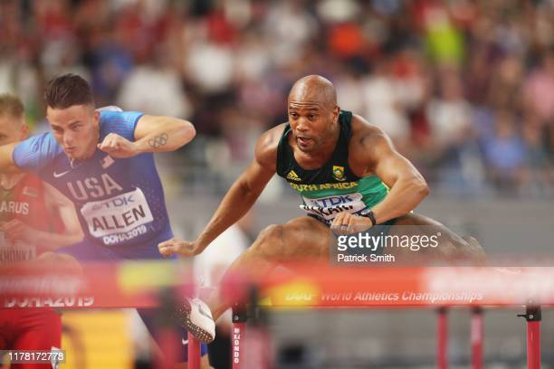 Antonio Alkana of South Africa competes in the Men's 110 metres hurdles heats during day four of 17th IAAF World Athletics Championships Doha 2019 at...
