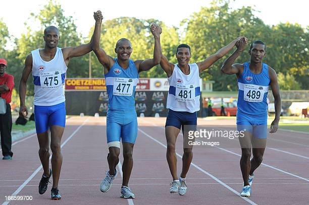 Antonio Alkana Roscoe Engel Brent Stevens and Keenan Michau after they won the mens 4x100m relay during day 2 of the SA Senior Championship from...