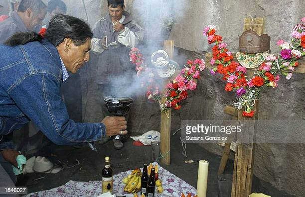 Antonio Analco the volcano rain man leads the birthday celebration for Don Goyo or the day of Saint Gregory March 12 2003 in Puebla Mexico The...