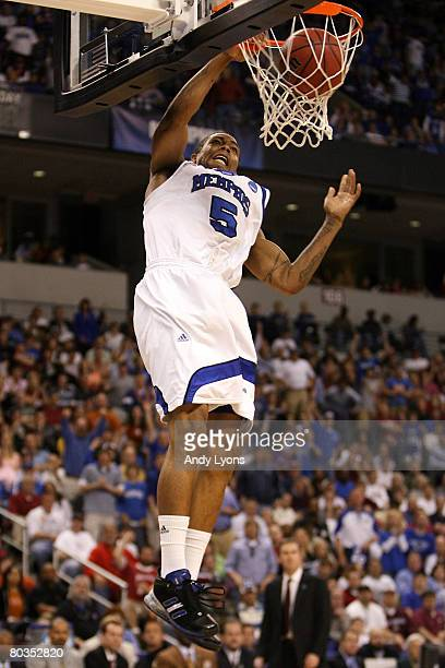 Antonio Anderson of the Memphis Tigers dunks the ball against the Mississippi State Bulldogs during the second round of the South Regional as part of...