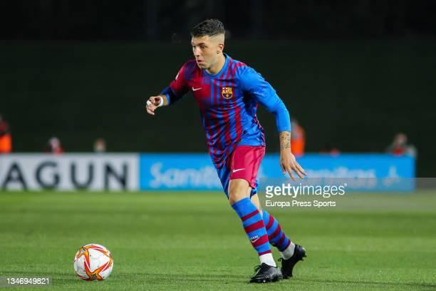 Antonio Aranda of FC Barcelona B in action during Primera RFEF Group 2 football match played between Real Madrid Castilla and FC Barcelona B at...