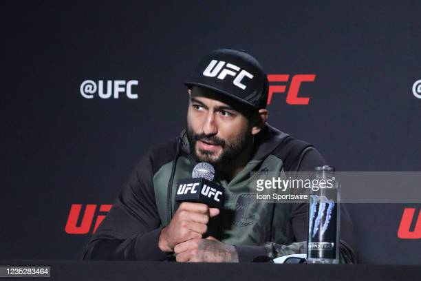 Antonio Arroyo interacts with media during the UFC Vegas 37 Media Day on September 15, 2021 at UFC Apex in Las Vegas, Nevada.
