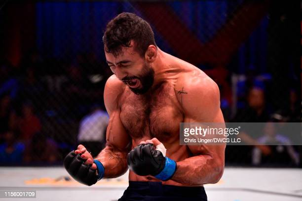 Antonio Arroyo of Brazil reacts after defeating Stephen Regman by submission in their middleweight bout during Dana White's Contender Series at the...