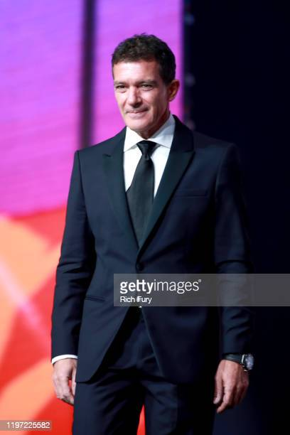 Antonio Banderas accepts the International Star Award onstage during the 31st Annual Palm Springs International Film Festival Film Awards Gala at...