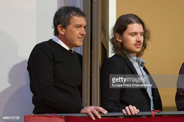 Antonio Banderas and Alexander Bauer attend procesion during Holy Week celebration on April 2 2015 in Malaga Spain